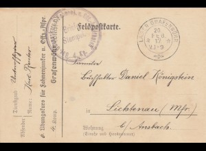Feldpostkarte 1917 Lager Grafenwöhr,Bay. Übungskurs für Fahnenjunker/Offiz. Anw.