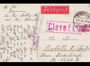 Ansichtskarte Bad Cleve 1918 als Feldpost, Lazarett als Feldpost nach Neukölln