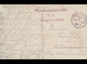 Ansichtskarte 1914 Pferdesammelstelle Gefechtsstaffel nach Untereisenheim