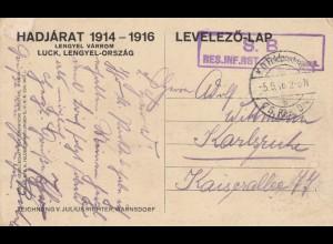 Ansichtskarte 1916 Hadjarat S.B. Res. Inf. Regt. nach Karlsruhe
