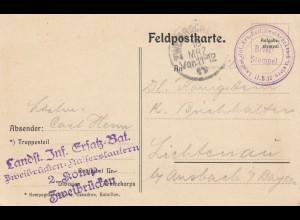 Feldpostkarte 1917 Landt. Inf. Ersatz Bat. Zweibrücken nach Lichtenau/Ansbach
