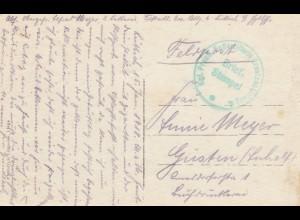 3x Ansichtskarten Liege,Lille,Brüssel als Feldpost 1917 nach Güsten und Chemnitz