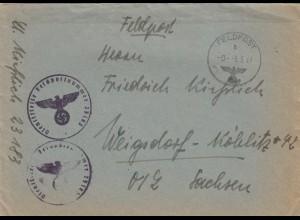 Feldpostbrief 1941, FP Nr. 23183 nach Weigsdorf mit Briefinhalt