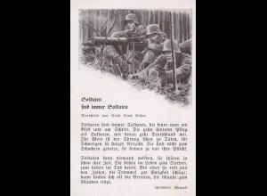 Ansichtskarte: Soldaten mit Marschlied, beschrieben