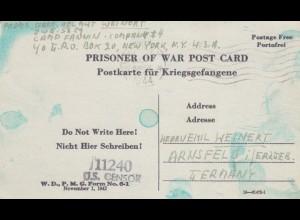 1944: PoW - Post card New York to Arnsfeld, censor