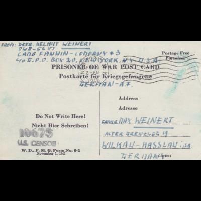 1945: PoW - Post card New York to Wilkau-Hasslau, censor