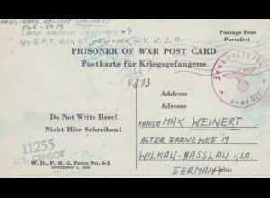 1944: PoW - Post card New York to Wilkau-Hasslau, censor