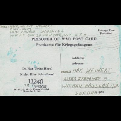 1944: PoW - Post card New York to Wilkau-Hasslau, US-censor