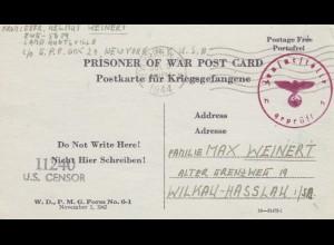 1944: PoW - Post card New York to Wilkau-Hasslau, US-censor, OKW censor