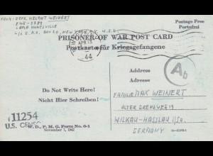 PoW - Post card New York to Wilkau-Hasslau, US-censor 1944, OKW censor