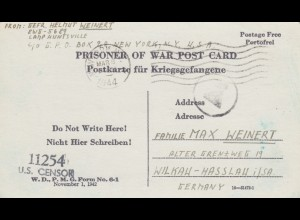 PoW - Post card New York to Wilkau-Hasslau, OKW censor, US-censor 1944,