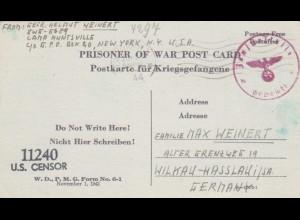 PoW - Post card New York to Wilkau-Hasslau, 2x censor
