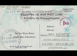 PoW - Post card New York to Wilkau-Hasslau, 2x censor, US+OKW