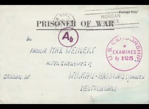 1943 PoW - letter New York to Wilkau-Hasslau, 2x censor, US+OKW