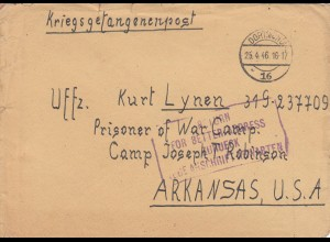1946 PoW - Kgf Post, Dortmund, Luftpost nach Arkansas, Return for better address