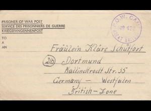 1946 PoW - Kgf Post, GB Plympton-Devon to Dortmund