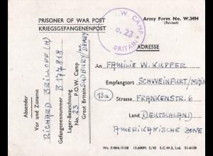 1947 PoW - Kgf Post, GB Sudbury/Derby to Schweinfurt