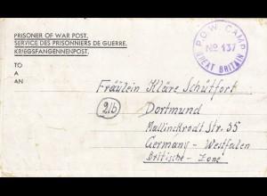 1947 PoW - Kgf Post, GB Plympton-Devon, Chaddlewood-house to Dortmund