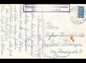 1950: Ansichtskarte Neuhaus/Schliersee nach bAd Kissingen, Kgf-Vermisstensache