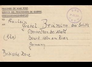 1947 PoW - Kgf Post, GB Bausteerd Surrey to Oberholzen bei Wiehl