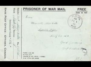 January 1945: POW, Kgf-Post, Base A.P.O. Canada Ottawa to Berlin