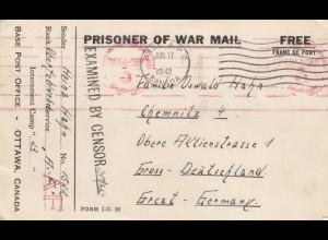 1942: POW, Kgf-Post, Base A.P.O. Canada Ottawa to Berlin, censorship