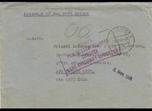 1946 PoW-Kgf Post to APO US Army via Köln Return for better address incl. letter