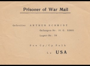 Prisoner of War Mail, addressed to camp 58, USA, printed
