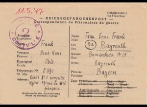 1947: POW, Kgf-Post, Algerie, Nordafrika to Bayreuth