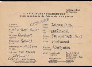 1946: POW, Kgf-Post, Frankreich Rennes to Dortmund, censor