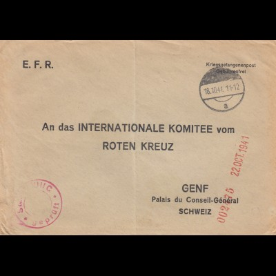 1941: POW, Kgf-Post, Stalag VIIIC an das Rote Kreuz in Genf, censur