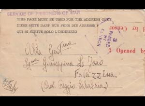 1942: POW, Kgf-Post, Australien nach Favazzina/Italia