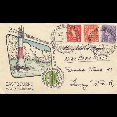 1954 Eastbourne to Karl-Marx-Stadt / DDR