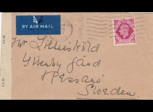 1943: air mail Andover to Sweden, censor