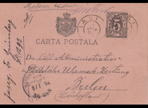 Romania: post card 1894 Iasi to Berlin