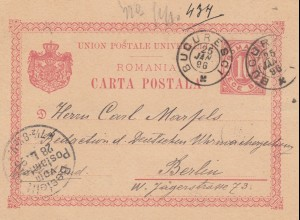 Romania: post card 1896 Bucuresci to Berlin