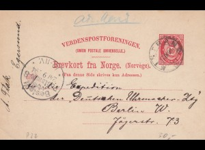 Norge: post card 1894 Kistrand to Berlin