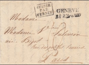 1828: Geneve, Suisse par Ferney to Paris, with text