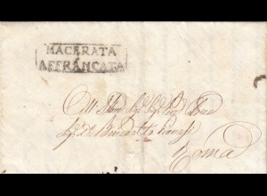 1847: Macerata Affrancata to Roma, a lot text, BPP Signed