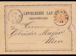 1873: post card Temeswar to Wien
