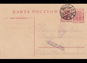 1919: post card Lodz to Schleiz
