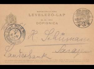 1921 Ganzsache Zagreb nach Sarajewo