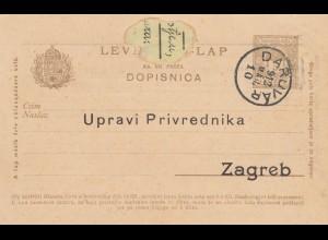 1912: post card Daruvar to Zagreb