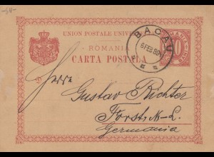Romania: 1889 post card Bacau to Forst