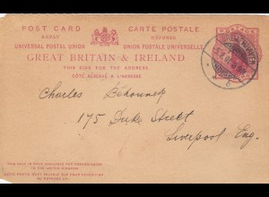 1901: answer post card from Bremerhaven back to Liverpool