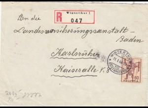 1943: Einschreiben Winterthur nach Karlsruhe, Zensur