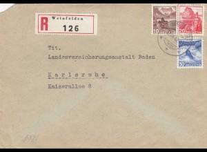 1942: Weinfelden als Einschreiben nach Karlsruhe, OKW Zensur