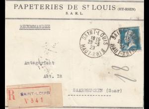 1929: Einschreiben St. Louis to Saarbrücken