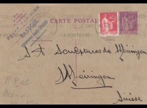 1934 post card Thonon les Bains to Meiningen