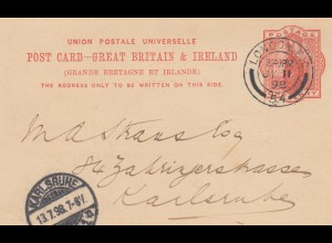 1898: post card London to Karlsruhe